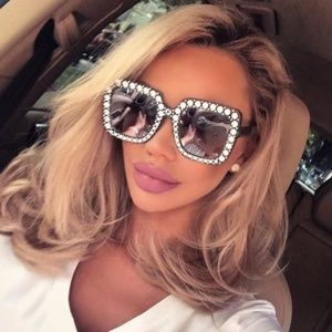 Accessories - 💄😎Oversized Square Black Bling Sunglasses New